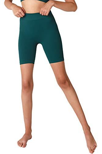 NIKIBIKI Women Seamless Ribbed Biker Shorts, Made in U.S.A, One Size