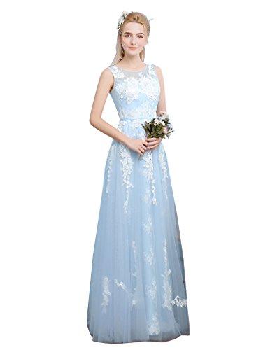 blau maxi Brautjungfer Kleid Ohne Schicht Spitze Emily Arm Baby Beauty Durchschauen Rückenfrei x7pqvHPS