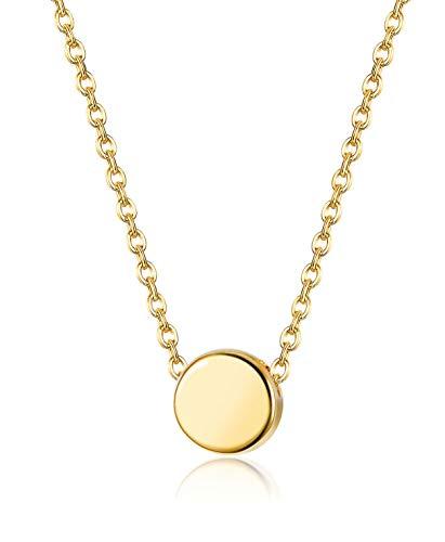 Dot Jewelry - SllaissSterling Silver Tiny Dot Necklace for Women Girls FloatingRound CirclePendant Minimalist Jewelry,16