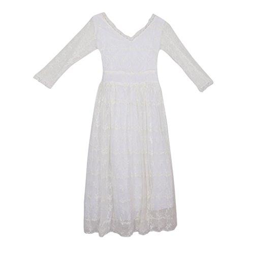 外交波土地Fenteer 妊娠スカート マタニティドレス ワンピース マタママ フォト衣装 レース刺繍 白 プレゼント