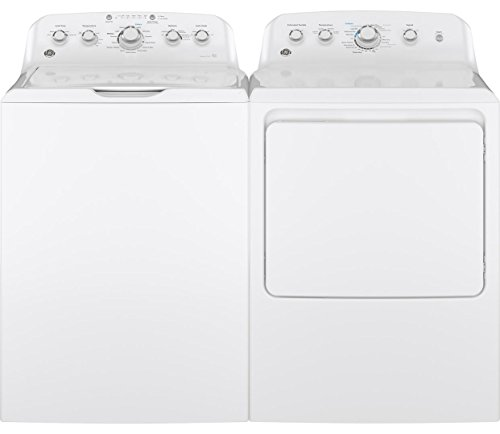 GE White Top Load Laundry Pair with GTW460ASJWW 27″ Washer and GTD42GASJWW 27″ Gas Dryer