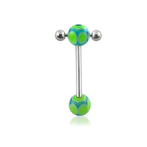 14Gx5/8(1.6x16mm) 316L Surgical Steel Straight Barbell with 6/6MM UV Spider's Web Ball and Small Barbell with Ball Moving in Side Tongue Piercing Rings (Steel Ring Surgical Spider Web)