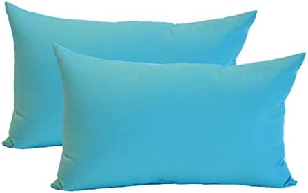 Set of 2 – Indoor Outdoor Rectangle Lumbar Decorative Throw Toss Pillows – Solid Cancun Blue