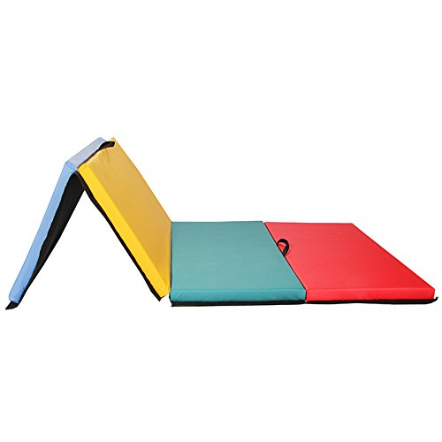 "4'x8x2"" Thick Folding Panel Gymnastics Mat Gym Fitness Exercise Multicolor"