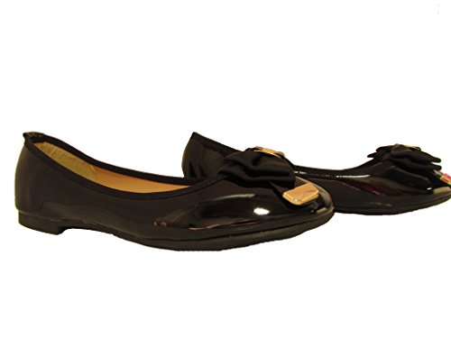 Toe Round Bow Flats (Elise-1 Womens Patent Leatherette Round Toe Dressy Fashion Bow Design Flats Black 8)