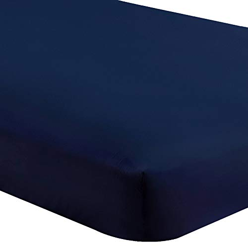 Bare Home Fitted Bottom Sheet Twin Extra Long - Premium 1800 Ultra-Soft Wrinkle Resistant Microfiber - Hypoallergenic - Deep Pocket (Twin XL, Dark Blue) (Difference Between Bed Linen And Bed Sheet)