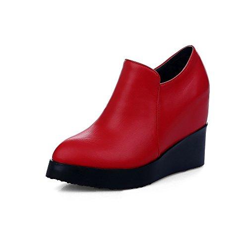 Damen Hoher Absatz Weiches Material Schnüren Rund Zehe Pumps Schuhe, Weinrot, 36 AllhqFashion