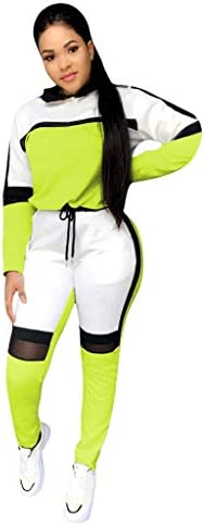 Fanteecy Tracksuits Women Stripe Patchwork Two Piece Sweatsuit Round Neck Pullover and Skinny Long Pants