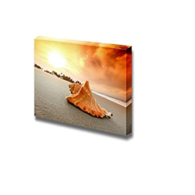 Made to Last, Elegant Object of Art, Shell on Sand Under Sunset Sky Wall Decor