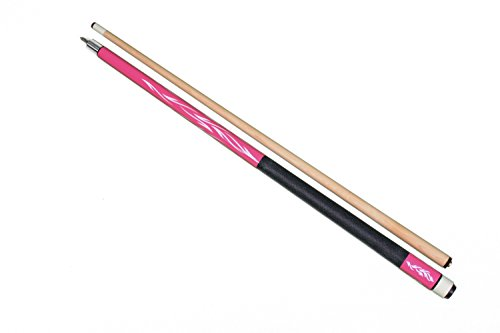 Iszy Billiards 2 Piece Hardwood Maple Pool Cue Billiard Stick with Steel Joint, Pink, 21 (Hot Pink Pool Cue)