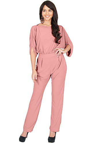 (KOH KOH Plus Size Womens Short Sleeve Sexy Formal Cocktail Casual Cute Long Pants One Piece Fall Pockets Dressy Jumpsuit Romper Long Leg Pant Suit Suits Outfit Playsuit, Light Pink)