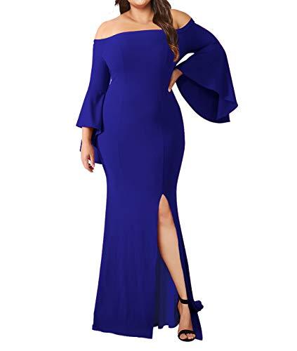 Lalagen Women's Plus Size Off Shoulder Bodycon Long Evening Party Dress Gown Blue - $50 Ball Plus Gowns Under Size