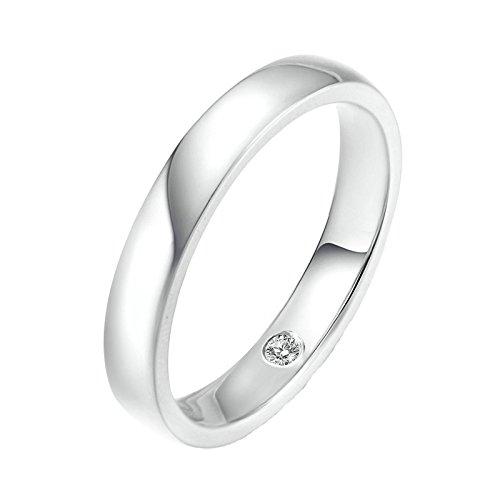 18K Gold Ring(Au750),0.02Ct Round Diamond 3.5Mm Ring Wedding Engagement Ring for Men Size 9.5 by Epinki