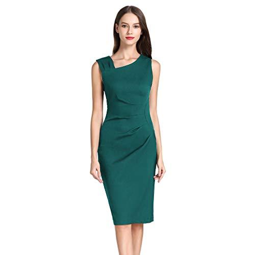 Jalili Women Elegant Retro 1950s Style Sleeveless Slim Business Pencil Dress(XL,Green)