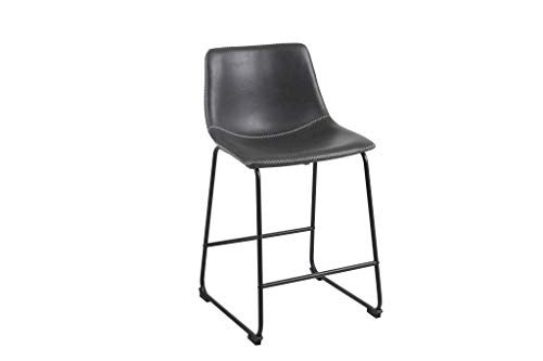 (Phoenix Home Malaga Faux-Leather Counter-Height Bar Stool, Saddle Brown, Set of 2)
