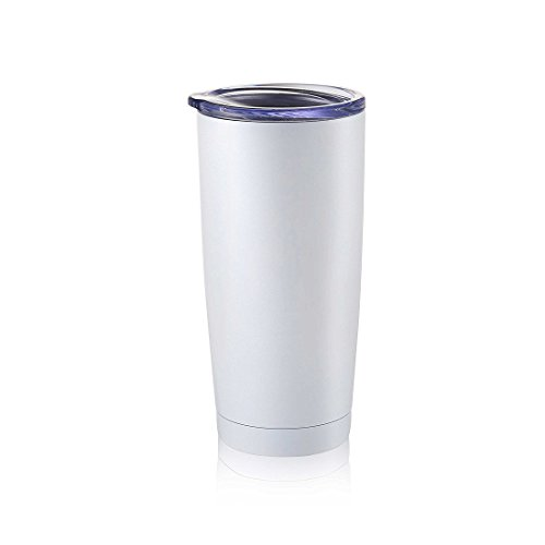 Masvis 20oz Tumbler Vacuum Insulated Stainless Steel Coffee Cup with Lid, Straws - Travel Mug Works Great for Ice Drink, Hot Beverage(White) by Masvis