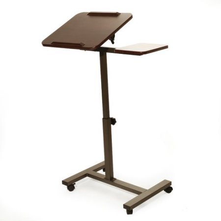 Classics Manual Sit-Stand Desk Cart and Side Table in Walnut by Classics