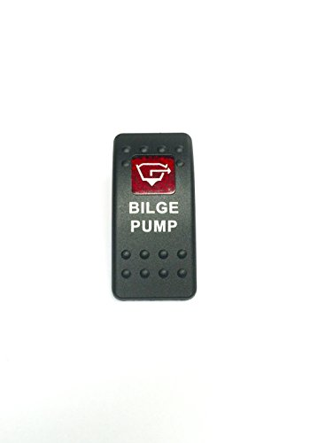 - Euro Rocker Switch Cover- BILGE PUMP. Black with Red Lens. Contura II. Fits Carling, Cole Hersee, Blue seas