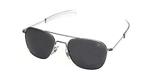 AO Original Pilot Sunglasses, Matte Chrome, CC Gray Poly Lens, 52mm, Bayonet, Polarized - Sunglasses Optical American