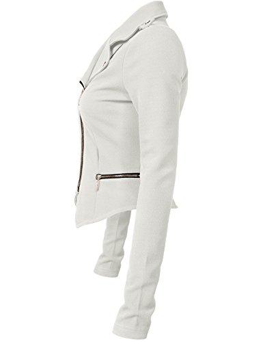 Luna Flower Women's Stylish Long Sleeve Double Zip Moto Jackets OFFWHITE Large (GJAW136) by Luna Flower (Image #2)