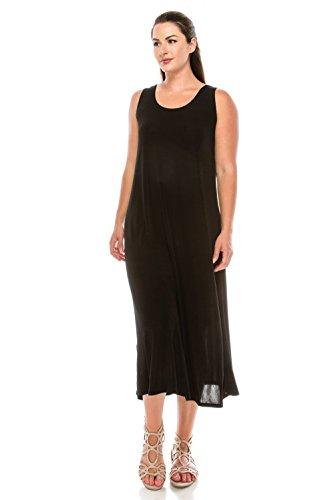 Jostar Women's Stretchy Long Tank Dress X-Large Black