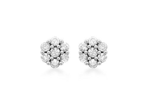 Boucles d'oreilles en grappe or blanc 9ct-Diamant 0.25Cts