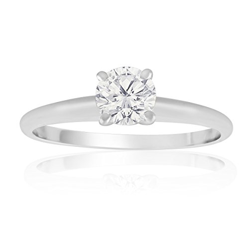 10K White Gold Round Diamond Solitaire Ring 1/2 cttw (AGS Certified E-F, (Gold Round Diamond Solitaire Ring)