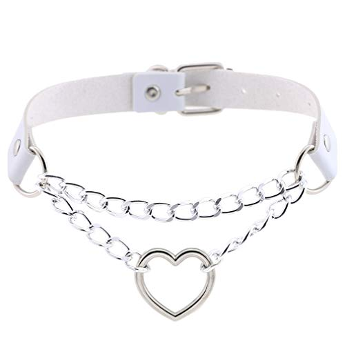 (FM FM42 White PU Simulated Leather Gothic Punk Heart Ring Cuban Curb Link Chain Adjustable Neckband Collar Choker PN2406)