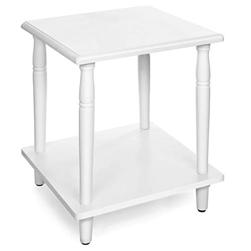 "VASAGLE Side, 2-Tier End Table with Solid Wood Legs, Roman Column, Easy Assembly, for Living Room, Entryway, White ULET12WT, 15.7""L x 15.7""W x 19.7""H (40 x 40 x 50 ()"