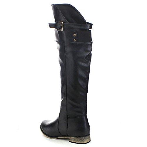 Voor Altijd Molino-12 Dames Ronde Neus Elastische Gesp Dij Hoge Laarzen, Kleur: Zwart, Maat: 5.5