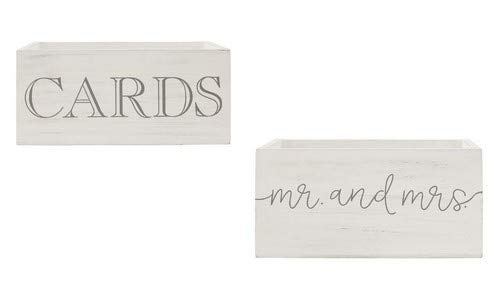 Mud Pie Wedding Card Boxes Nested Set of 2, White/Gray
