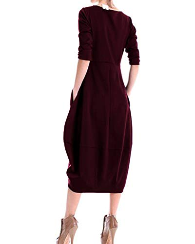Crew with Neck Dress Hem Midi Women's Red Sleeve Long AUDATE Tunic Wine Pockets Bubble gHqtxHa