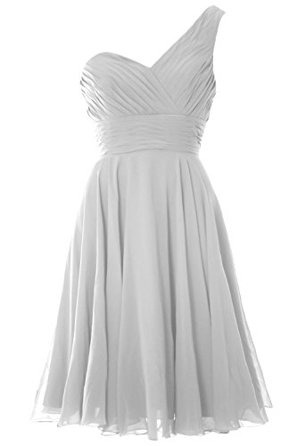MACloth Women One Shoulder Short Bridesmaid Dress Wedding Party Evening Gown Blanco