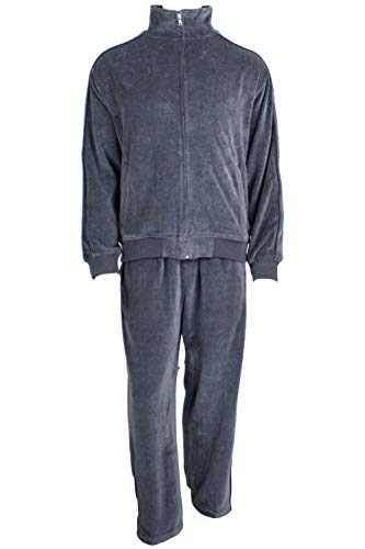 Mens Velour Tracksuit (X-Large, Charcoal Gray Heather)