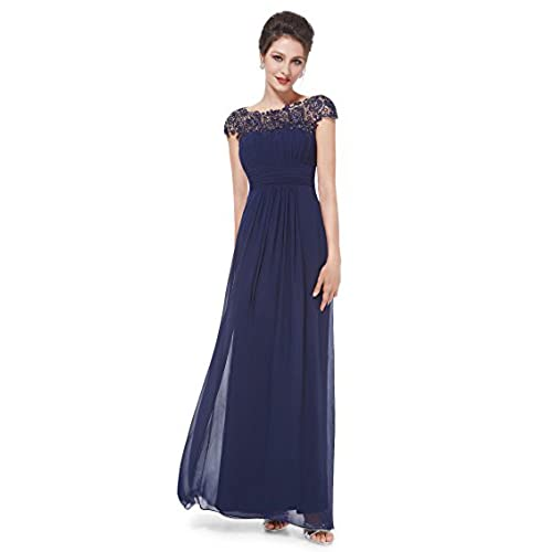 Ever-Pretty Womens Cap Sleeve Lace Neckline Ruched Bust Evening Gown 4 US Navy Blue
