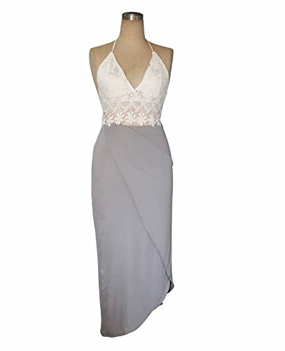 jasit Skirt Set, Women Summer Two Pieces V Neck Backless Lace Tops+Irregular Long Skirt S by jasit (Image #5)