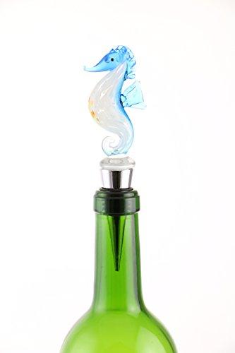 Murano Inspired Glass Blue Seahorse and Gift Box Wine Bot...