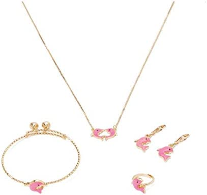 29139100 4-Piece Kids Jewellery Set, 18K Gold Plated - Pink Dolphin Design ...