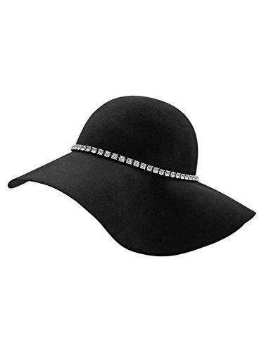 Luxury Divas Black Wool Floppy Hat with Rhinestone Hat -