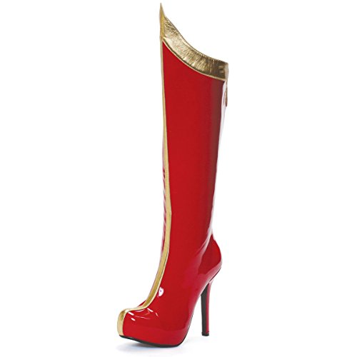 Red and Gold Knee High Superhero Boots with 5.5'' Heels Women's Sexy Red Boots Size: 8 - Sexy Superhero Boot