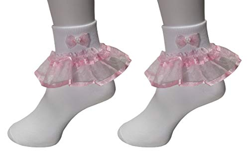Girls Ruffle Socks 2 Pairs - Big Full Organza with Trim and Beaded Bow Tie Pageant Fanfare Foldover Ankle Style (0, 2 Pairs - Ruffle Organza Socks