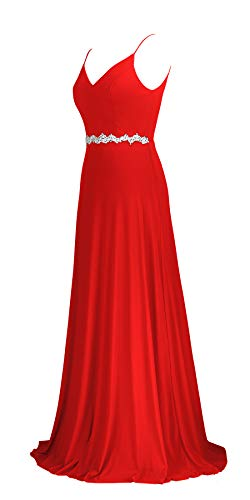 conail Coco Women Double V-Neck Spaghetti Straps Beaded Elegant Maxi Long Formal Dress Evening Gown (188Red, Large)