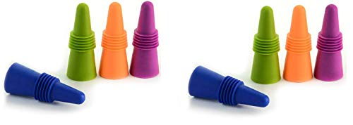 Rabbit (W6121) Wine and Beverage Bottle Stoppers with Grip Top (Assorted Colors, Set of 4)