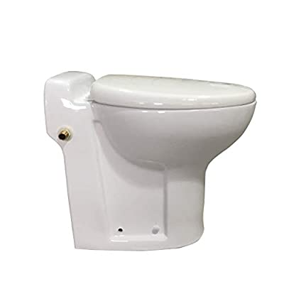 One piece Toilet with Macerator Pump Built Into the Base, AC110V 600 Watt Macerator and Cotton White Finish