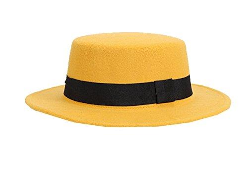 Hat Fedora Unisex con Bowler raya Jazz Floppy Wool amarilla Gorra Ahatech Derby wR4Inq5w
