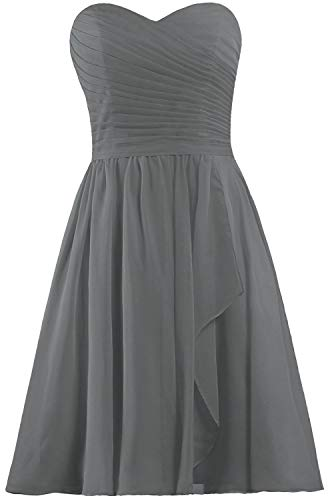 (ANTS Women's Sweetheart Short Bridesmaid Dresses Chiffon Wedding Party Dress Size 18W US Gray)