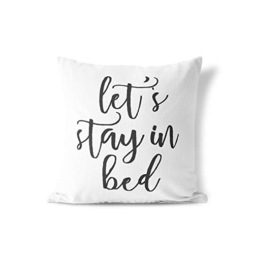 Anna Flora | Let's Stay In Bed Pillow Cover | Home Décor | Bedding Décor | Simple Quotes Pillow Cover | Love Pillowcase | Wedding Gift | Couple Gift | Love Quotes