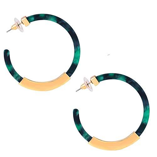 - Hoop Earrings for Women Geometry Acrylic Resin Earrings Bohemia Tortoise Shell Earrings Mottled Statement Stud Earrings Fashion Jewelry (A-Green)