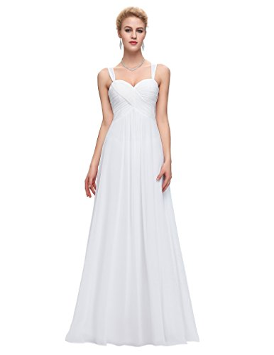 Empire Ball Gown - Belle Poque Women's White Wedding Gown Chiffon Formal Party Dress Size 4 ST65