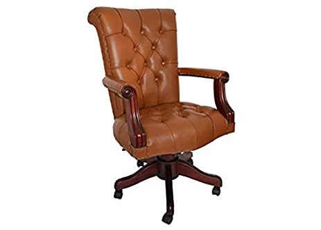 Superieur Regal Tan Leather Office Chair With Wood Trim